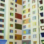 Plattenbau Berlijn, 60x60 cm, olieverf op doek