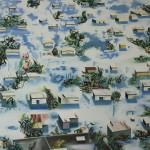 Blauw, 110x130 cm, olieverf en draad op doek