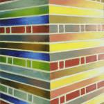 Muur Berlijn, 15x15x3,5 cm, olieverf op doek