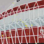 Stadion Alkmaar, 15x15x3,5 cm, olieverf op doek