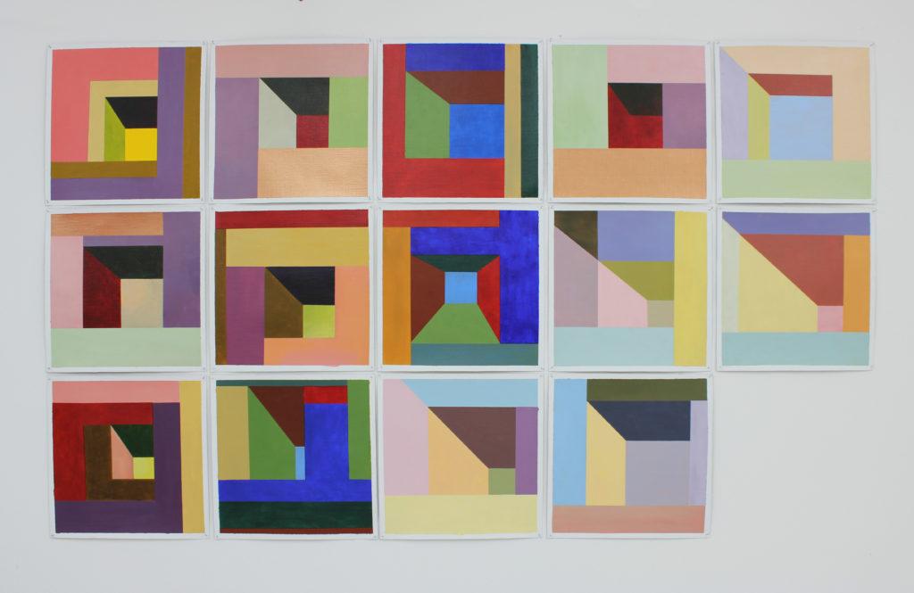 In wording: kleurinstallatie serie van 30x30 cm